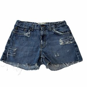 LEVIS 505 Distressed High Rise cut off Jean shorts